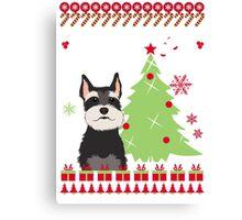 Schnauzer Ugly Christmas Sweater Canvas Print