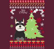 Schnauzer Ugly Christmas Sweater Womens Fitted T-Shirt