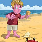 cartoon boy with crab on beach by martyee