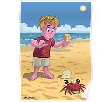 cartoon boy with crab on beach Poster