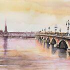 Le pont de pierre - Bordeaux - Watercolor by nicolasjolly