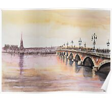 Le pont de pierre - Bordeaux - Watercolor Poster