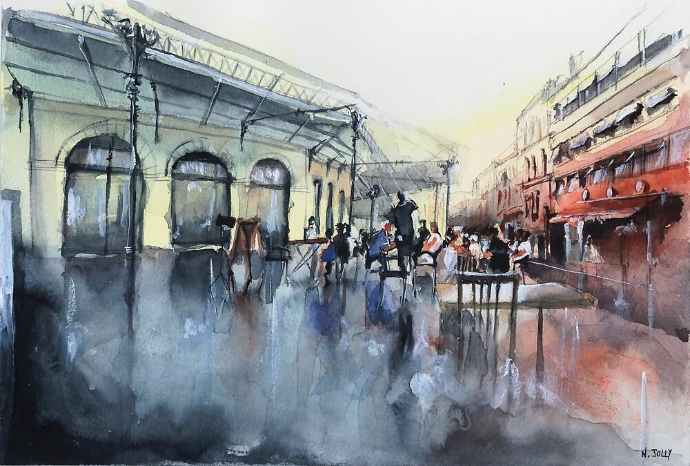 Place des Chartrons - Bordeaux - Watercolor by nicolasjolly