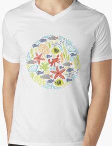 print Sea Mens V-Neck T-Shirt