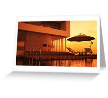 Poolside Sunset Greeting Card