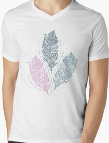 Patterned feathers Mens V-Neck T-Shirt