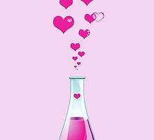 Science Chemistry Glass Lab Bottle Pink Hearts by sitnica