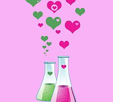 Chemistry Glass Laboratory Bottle Pink Green Hearts by sitnica