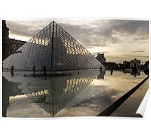 Paris - Louvre Pyramid Reflecting in the Fountain's Pool Poster