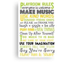 Playroom Rules Subway Art Poster Canvas Print