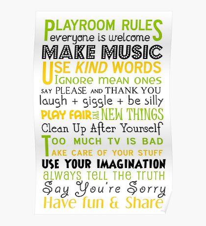 Playroom Rules Subway Art Poster Poster