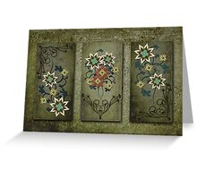 Floral Grunge Triptych Greeting Card