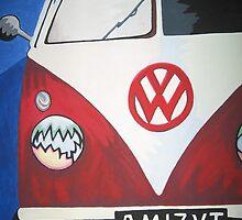 Red VW camper van by sarahjlr