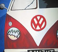 Red VW camper van by sarahjlr