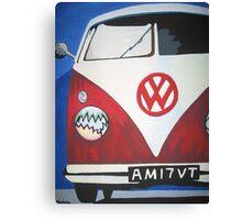Red VW camper van Canvas Print