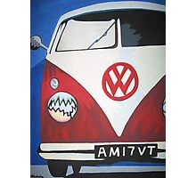 Red VW camper van Photographic Print
