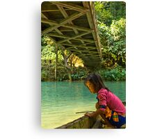 Little Girl starring at Shining Water Canvas Print