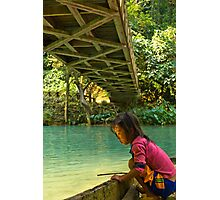 Little Girl starring at Shining Water Photographic Print