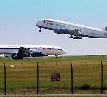 British Airways Airbus A380 and Saiflycargo DC8 by larry flewers