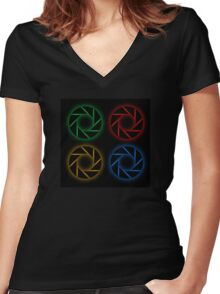 Glowing aperture Women's Fitted V-Neck T-Shirt
