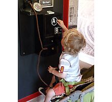 Wonder which button wins the teddy! Photographic Print