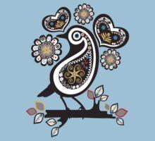 Scandinavian meets paisley bird hearts flowers by BigMRanch