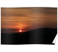 Rolling hills at sunset Poster