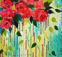 ROSE RAGE Acrylic Painting Stunning Summer Floral Abstract Flower Bouquet Feminine Pink Turquoise Lime Nature Art by EbiEmporium