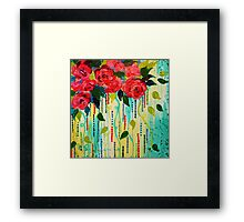 ROSE RAGE Acrylic Painting Stunning Summer Floral Abstract Flower Bouquet Feminine Pink Turquoise Lime Nature Art Framed Print