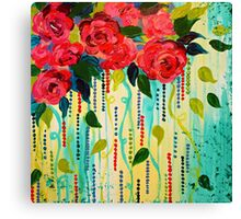 ROSE RAGE Acrylic Painting Stunning Summer Floral Abstract Flower Bouquet Feminine Pink Turquoise Lime Nature Art Canvas Print