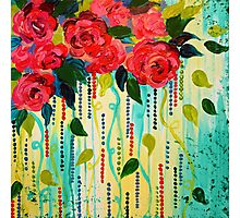 ROSE RAGE Acrylic Painting Stunning Summer Floral Abstract Flower Bouquet Feminine Pink Turquoise Lime Nature Art Photographic Print