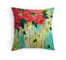 ROSE RAGE Acrylic Painting Stunning Summer Floral Abstract Flower Bouquet Feminine Pink Turquoise Lime Nature Art Throw Pillow