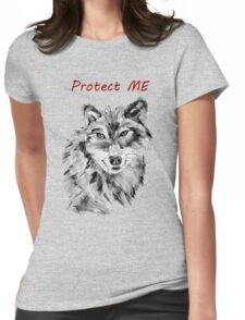 Protect Me - Wolf Art by Valentina Miletic Womens Fitted T-Shirt