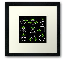 Set of green leaves design elements  Framed Print