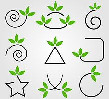 Set of green leaves design elements  by Shawlin Mohd