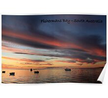sunset and boats Poster
