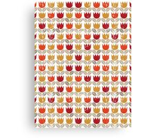 red tulips in rows Canvas Print