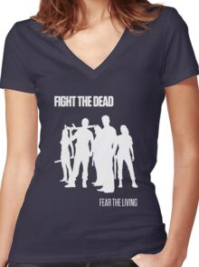Fight the Dead T-Shirt [White Stencil] Women's Fitted V-Neck T-Shirt