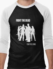 Fight the Dead T-Shirt [White Stencil] Men's Baseball ¾ T-Shirt