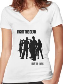 Fight the Dead T-Shirt [Black Stencil] Women's Fitted V-Neck T-Shirt