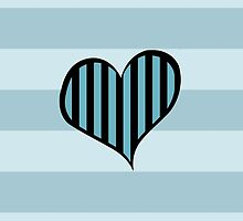 Artistic Retro Heart Stripes Lines Blue Black by sitnica