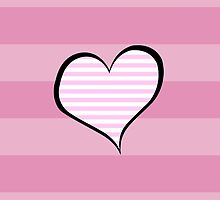 Artistic Retro Heart Stripes Lines Pink White by sitnica