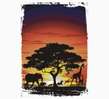 Wild Animals on African Savannah Sunset  Kids Clothes