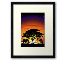 Wild Animals on African Savannah Sunset  Framed Print