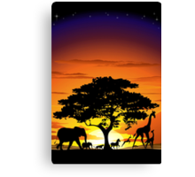 Wild Animals on African Savannah Sunset  Canvas Print