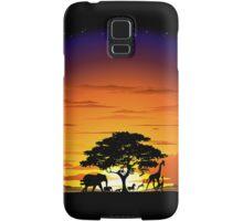 Wild Animals on African Savannah Sunset  Samsung Galaxy Case/Skin