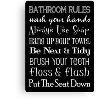 Bathroom Rules Poster Canvas Print