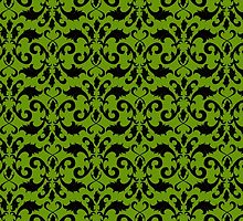 Luxury Ornamental Antique Damask Green, Black by sitnica