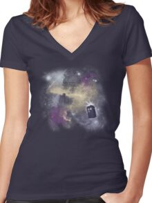 Trough Time and Space Women's Fitted V-Neck T-Shirt