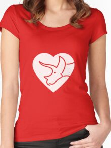 Dinosaur heart: Triceratops Women's Fitted Scoop T-Shirt